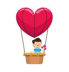 Boy with flowers in hot air balloon in heart shape vector