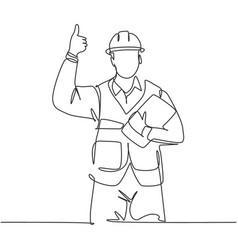 Building constructor concept single line drawing vector