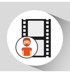 Cartoon man icon film strip cinema graphic vector