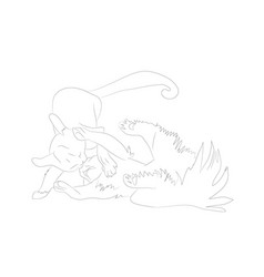 Cats that fight lines drawing vector