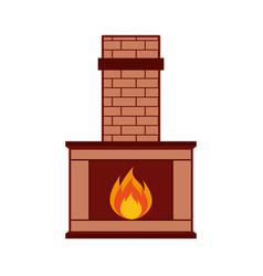 christmas chimney isolated icon vector image