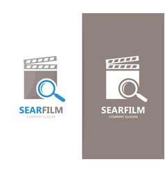 Clapperboard and loupe logo combination vector
