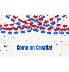 croatia garland flag with confetti on transparent vector image