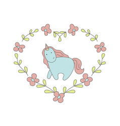 Cute blue unicorn in cartoon style cute blue vector