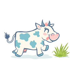 Cute cow in kawaii style vector