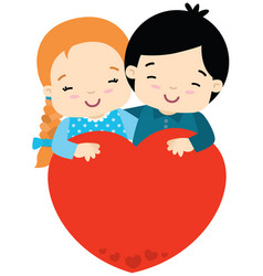 cute girl and boy hugging big heart valentines day vector image