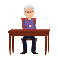 Cute grandfather in the table character vector