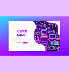 cyber games neon landing page vector image