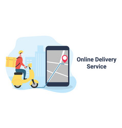 delivery man riding scooter to destination on vector image