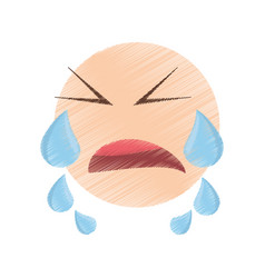 drawing crying emoticon image vector image