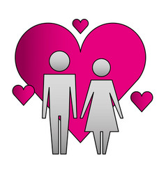 Family couple with hearts silhouette vector