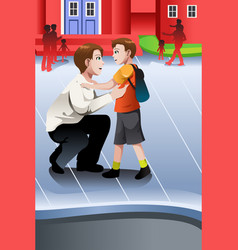 Father picks up his son from school vector