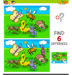 finding differences game with insects animals vector image