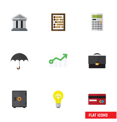 Flat icon incoming set of portfolio parasol bubl vector