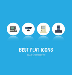 flat icon laptop set of technology pc processor vector image
