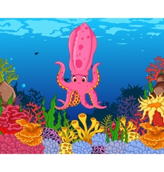 funny calamari squid with beauty sea life backgrou vector image