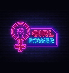 Girls power neon sign fashionable slogan feminist vector