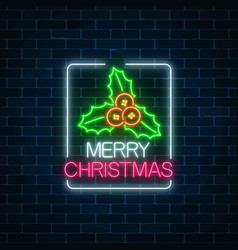 Glowing neon christmas sign with holly in vector
