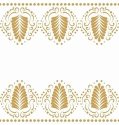 Golden elegant border in damask retro style vector