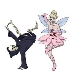 halloween dancing monsters death dances break vector image