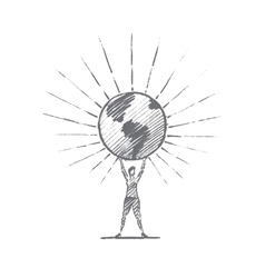Hand drawn woman holding shining globe on hands vector image