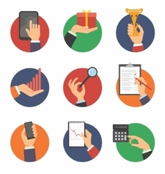 Hands with object icons set vector image