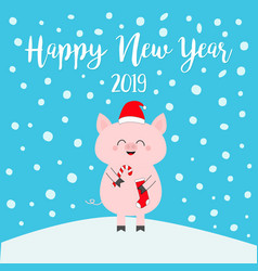 Happy new year 2019 pig holding candy cane sock vector