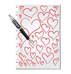 Hearts on a page vector