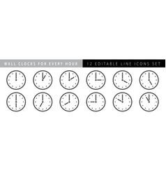 horizontal set analog clock icon notifying vector image