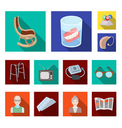 Human old age flat icons in set collection for vector