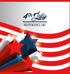 Independence day with stars and flag design vector