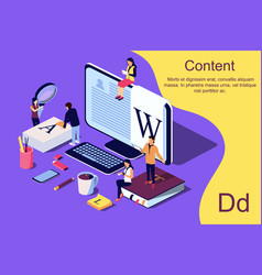isometric concept creative writing or blogging vector image