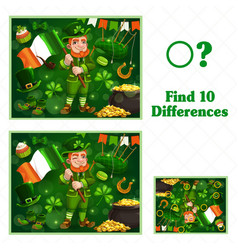 Kids game find ten differences for st patricks day vector