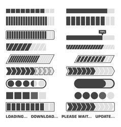 loading process icons set download and upload vector image
