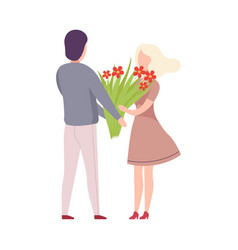man giving bouquet flowers to beautiful blonde vector image