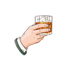 Man hand with whiskey or rum glass icon vector