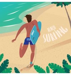 Man runs to ride the surf vector image
