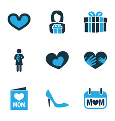 mothers day icon colored design concept set of 9 vector image