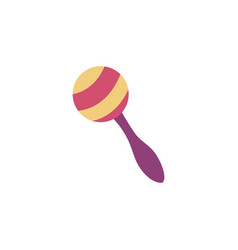 One colorful striped maraca with handle in flat vector