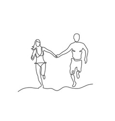 one line couple vector image