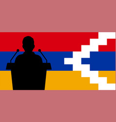 Orator speaking from tribune artsakh flag vector