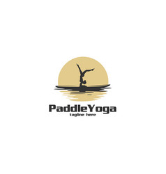 paddle yoga silhouette logo vector image