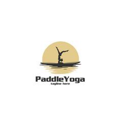 Paddle yoga silhouette logo vector