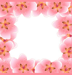 peach cherry blossom banner background vector image