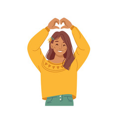 Positive girl kid geaturing showing heart sign vector