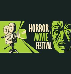 Poster for horror movie festival scary cinema vector