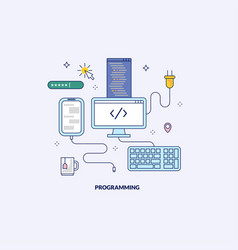 programming and development made in line style vector image
