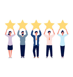 Rating concept characters holding gold five stars vector