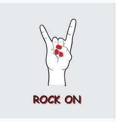 Rocknroll with hand music festival logo vector