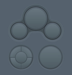 Round buttons set white plastic matted interface vector